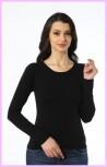 Damen Langarm Shirtt Rundhals mit Spitze Longsleeve 92% Baumwolle 8% Elestan 3225[L,Schwarz]