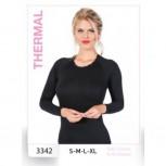 Damen Thermo Thermal Lange Basisschicht Unterhemd 35% Viskon 3% Likra 62% Polyester 3342 [L,Schwarz]